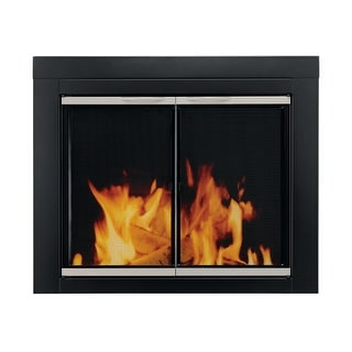Pleasant Hearth AP-1132  Alsip Cabinet Style Fireplace Screen and Glass Doors, Large - Black and Sunlight Nickel Powder Coated
