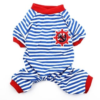 Pet Dog Puppy Anchor Rudder Embroidery Pattern Stripe Clothes Pajamas Size S