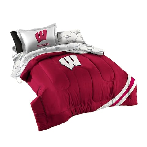 NCAA Wisconsin Badgers 5 Piece Comforter Set - Twin Size - 1 X 86 X 64 inches