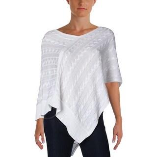 Ralph Lauren Womens Poncho Sweater Cable Knit Asymmetric