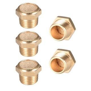 """Brass Exhaust Muffler, 1/4"""" G Male Thread Bronze Muffler w Brass Body Flat 5pcs - 1/4"""" G 5pcs"""