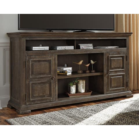 Wyndahl Rustic Brown Traditional Extra Large TV Stand w/ Fireplace Option