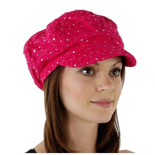 Women's Glitter Sequin Trim Newsboy Style Relaxed Fit Hat - Fuchsia - fuchsia with no flower