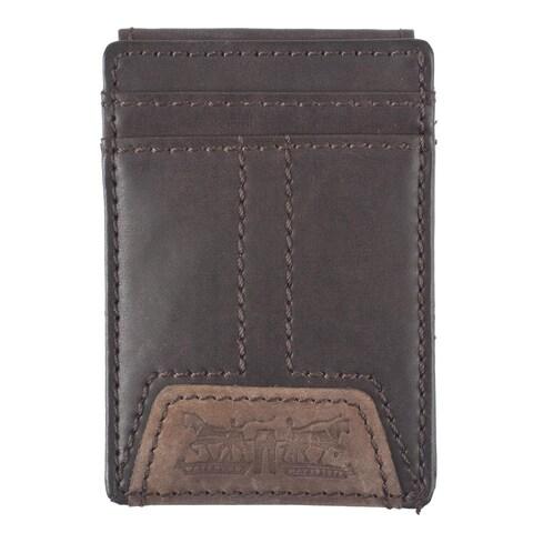 Levis Men's Leather Magnetic Money Clip Front Pocket Wallet - One size