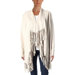 Vakko for INC Womens Faux Suede Fringe Jacket - XL