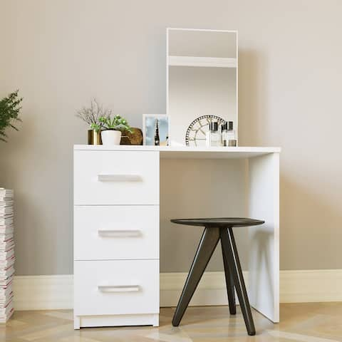 Boahaus Vanity with Mirror, 3 Drawers, White