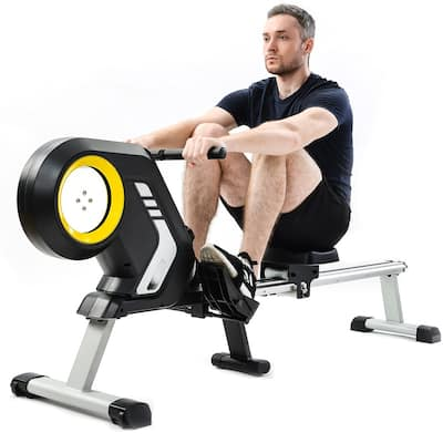Foldable Magnetic Resistance Rowing Machine with Transport Wheels