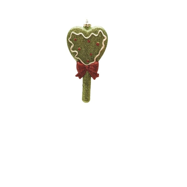 """5.75"""" Merry & Bright Green, Red and White Glitter Shatterproof Heart Lollipop Christmas Ornament - green"""
