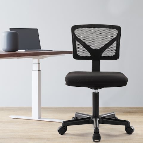 Home Office Chair Armless, Ergonomic Computer Task Mesh Desk Chair Low-Back Adjustable Height with Swivel Casters - N/A