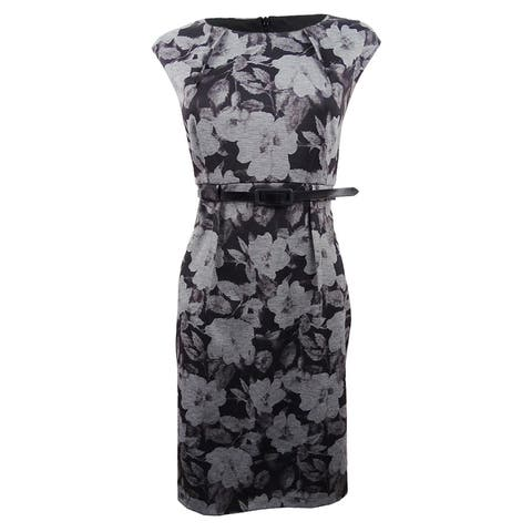 Connected Women's Petite Belted Floral Sheath Dress (12P, Black) - Black - 12P
