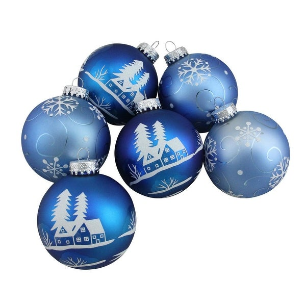 """6ct Blue with White Glitter Designs Glass Ball Christmas Ornaments 3.25"""" (80mm)"""