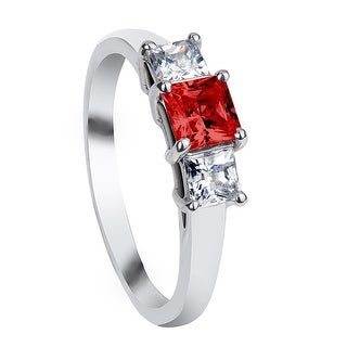 AUBURN Three Princess Cut Settings with Red & White Sapphire Palladium Engagement Ring