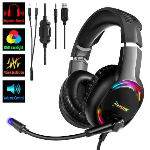 3.5mm RGB Gaming Headset with Mic for PC PS4 PS5 xBox Series X/S Nintendo Switch