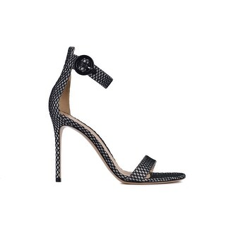 Gianvito Rossi Womens Silver Metallic Grid Sandal Heels