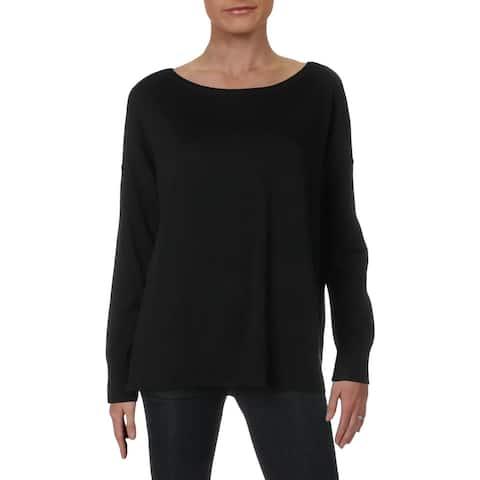 NYDJ Womens Pullover Sweater Ribbed Trim Boatneck - Black