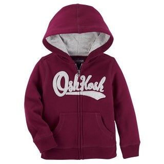 OshKosh B'gosh Big Boys' Logo Fleece Hoodie, Burgundy 10 Kids