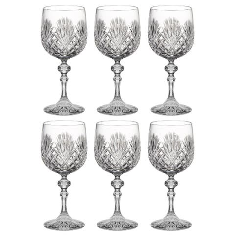 Wine Goblet - Crystal - Glasses - Beautifully Hand Cut - 11 oz. - European Quality - by Majestic Gifts Inc. - Made in Europe