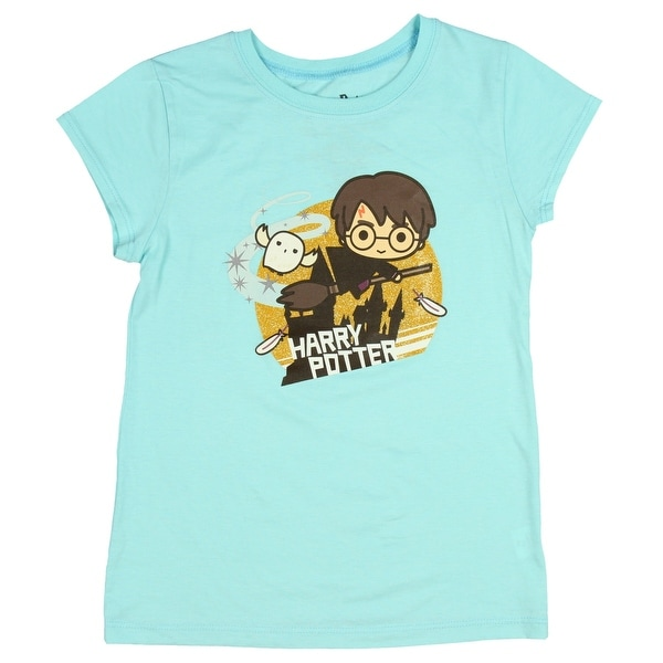 c610434aa Shop Harry Potter Shirt Hedwig Feather Broom Gold Glitter Girls Costume Top  - Free Shipping On Orders Over $45 - Overstock - 25643303