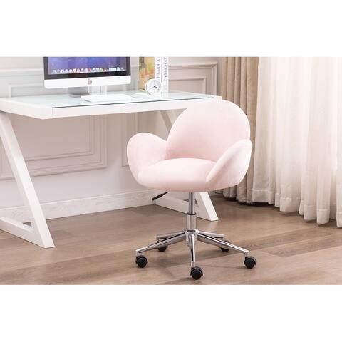 Porthos Home Quon Swivel Office Chair, Velvet Upholstery, Chrome Base