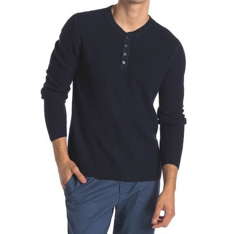 Original Penguin Mens Long Sleeve Waffle Henley Shirt X-Large Dark Sapphire