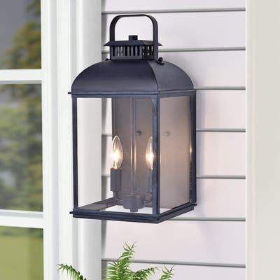 Antique Zinc Outdoor 2-light Wall Lantern