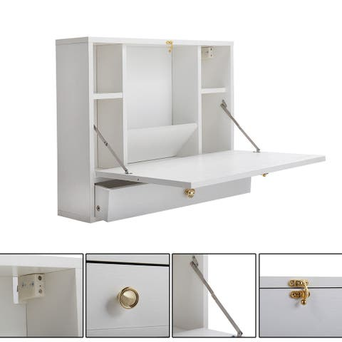 Wall-mounted notebook table-white.