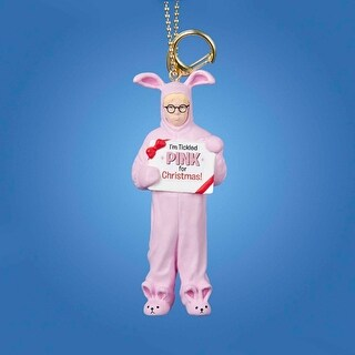 "4"" A Christmas Story Pink Bunny Suit Clip-On Keychain Ornament"