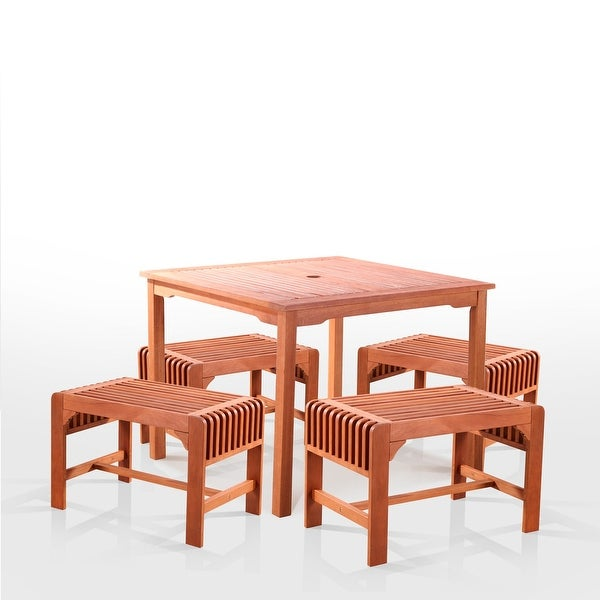 Slatted Wood 5-piece Square Outdoor Dining Set. Opens flyout.