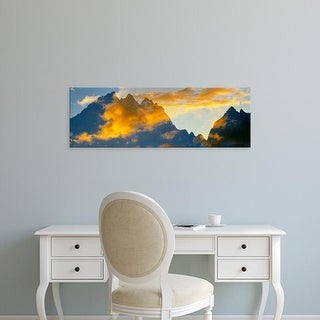 Easy Art Prints Panoramic Image 'Clouds, Mountain range, Teton Range, Grand Teton National Park, Wyoming' Canvas Art