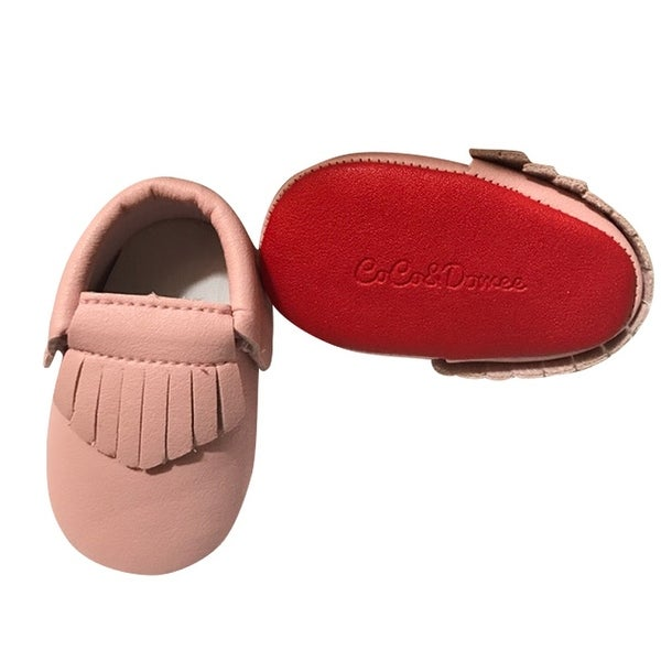 Baby Girls Pink Red Soft Sole Faux Leather Tassel Moccasin Crib Shoes 3-18M