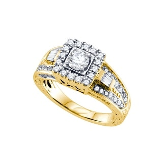 1.0Ct Diamond 3/8Ct Center Round Bridal Engagement Ring 14K Yellow-Gold