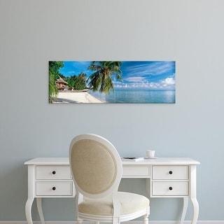 Easy Art Prints Panoramic Images's 'House on the beach, Matira Beach, Bora Bora, French Polynesia' Premium Canvas Art