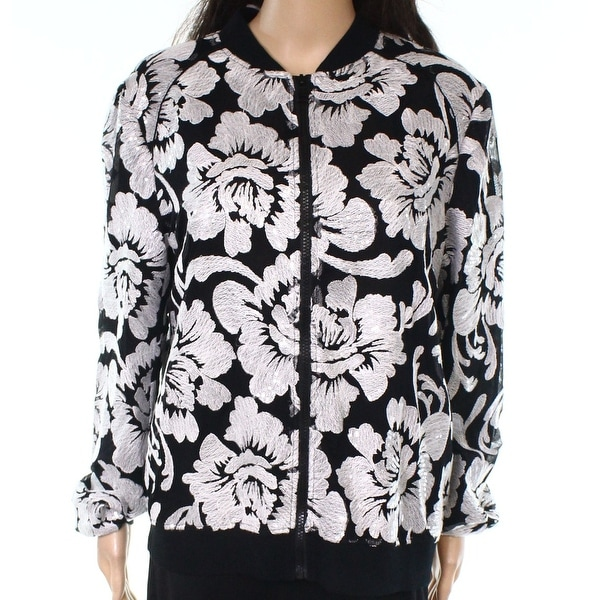 INC Black Womens Size Large L Sequined Embroidered Bomber Jacket