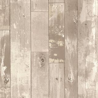 Brewster 347-20130 Heim Grey Distressed Wood Panel Wallpaper