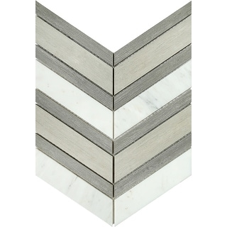 """Emser Tile W94INTR1214MCV  Intrigue - 11-5/8"""" x 13-3/4"""" Chevron Floor and Wall Mosaic Tile - Varied Marble Visual - Gray/Fawn"""