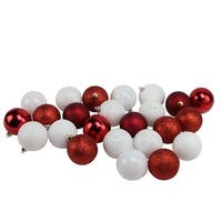 "24ct Candy Cane Red and White Shatterproof 4-Finish Christmas Ball Ornaments 2.5"" (60mm)"