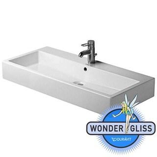 "Duravit 454100025 Vero 39-3/8"" Ceramic Bathroom Sink for Vanity or Vessel Installations with Widespread Faucet Holes & Overflow"
