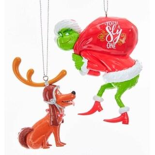 Kurt Adler Grinch Santa and Dog Max Holiday Ornaments Set of 2