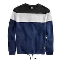 Wht Space NEW Navy Blue Black Mens Size XL Colorblock Crewneck Sweater