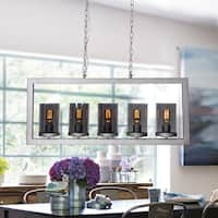 Contemporary 5-Light Linear Chandelier with Glass Shade