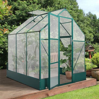 Outsunny Walk-in Plant Greenhouse for Backyard/Outdoor Use with Temperature Controlled Window, Aluminum Frame, PC Board