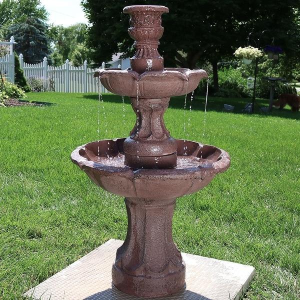 Sunnydaze Goblet 3 Tier Garden Outdoor Water Fountain 37 Inch Tall