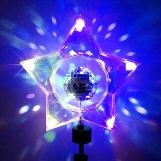 "14"" Retro Rotating Mirror Disco Ball Clear Star Christmas Tree Topper"