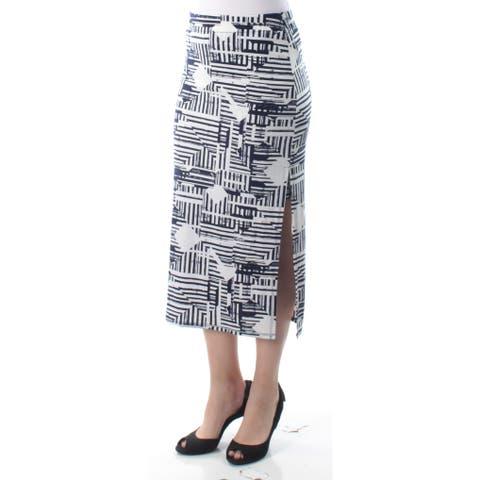 KIIND OF Womens Navy Slitted Geometric Tea Length Pencil Skirt Size: S