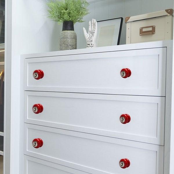 Ceramic Knobs Vintage Round Drawer Pull Handle Cupboard Cabinet Knob 4pcs Red