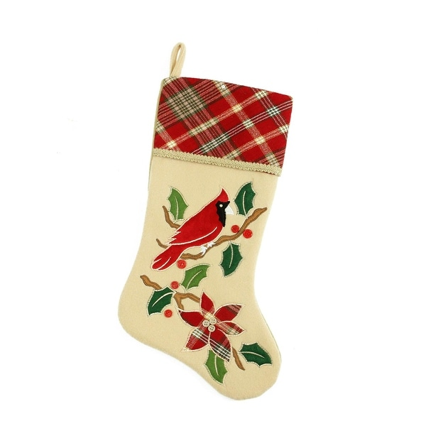 "20.5"" Country Cabin Embroidered Tan Cardinal Bird Christmas Stocking With Red Plaid Cuff"