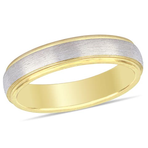 Miadora Ladies Brushed Comfort Fit Wedding Band in 2-Tone 10k Yellow and White Gold (4mm)