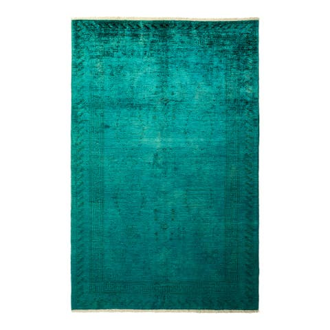 """Vibrance, One-of-a-Kind Hand-Knotted Area Rug - Green, 5' 10"""" x 8' 10"""" - 5' 10"""" x 8' 10"""""""