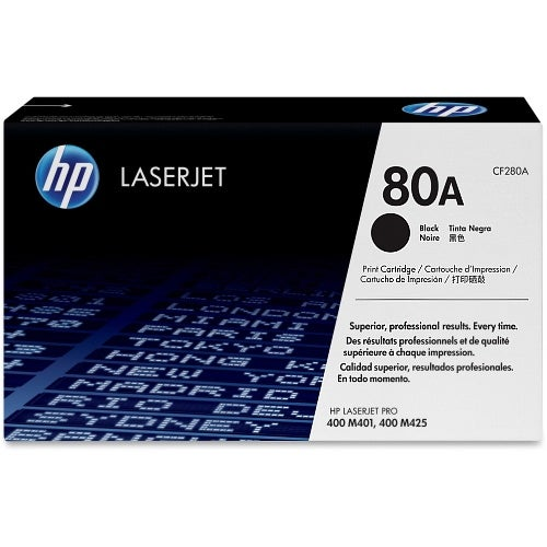 HP 80A (CF280A) Black Original LaserJet Toner Cartridge w/ 2700 Page Yield