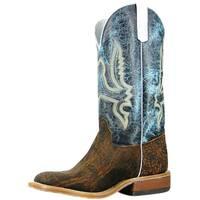 Olathe Western Boots Mens Square Toe Cowboy Elephant Rust Turq